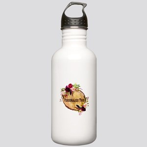 Wood Slice Floral Personalized Water Bottle