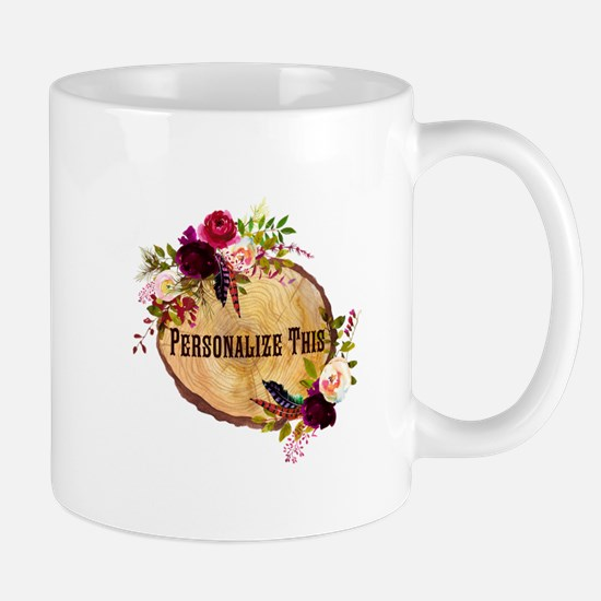 Wood Slice Floral Personalized Mugs