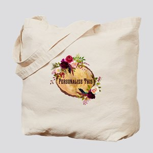 Wood Slice Floral Personalized Tote Bag