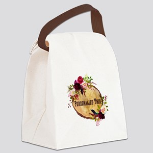 Wood Slice Floral Personalized Canvas Lunch Bag