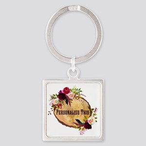 Wood Slice Floral Personalized Keychains