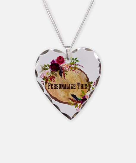 Wood Slice Floral Personalized Necklace
