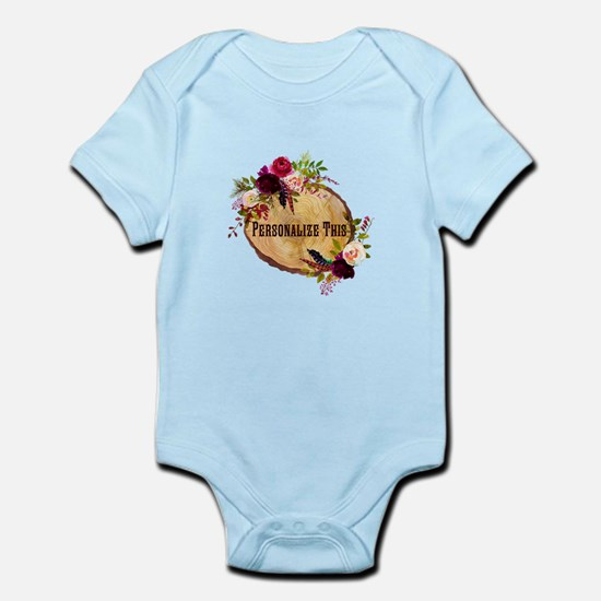 Wood Slice Floral Personalized Body Suit