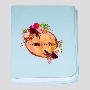 Wood Slice Floral Personalized baby blanket