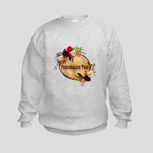 Wood Slice Floral Personalized Sweatshirt