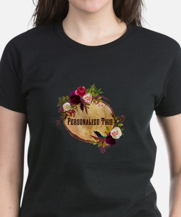 Wood Slice Floral Personalized T-Shirt
