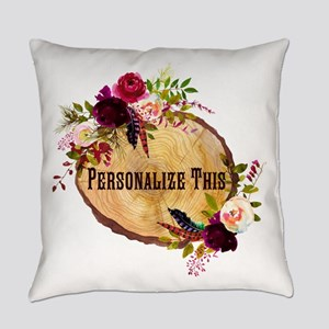 Wood Slice Floral Personalized Everyday Pillow