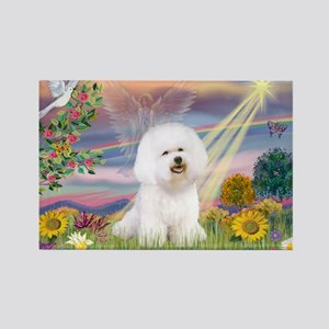 Cloud Angel & Bichon Rectangle Magnet