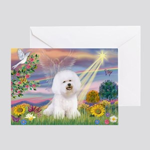 Cloud Angel & Bichon Greeting Card