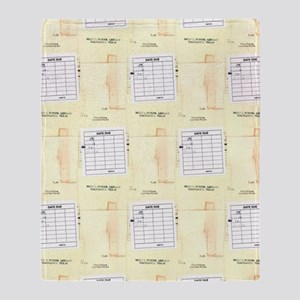 Library Book Date Due Card Throw Blanket