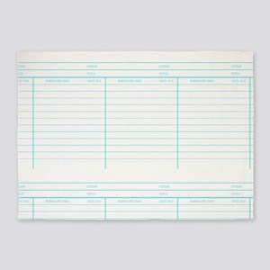 Library Book Date Due Card 5'x7'Area Rug
