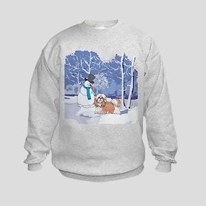 Snowman & Shih Tzu Holiday Kids Sweatshirt