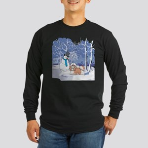 Snowman & Shih Tzu Holiday Long Sleeve Dark T-Shir