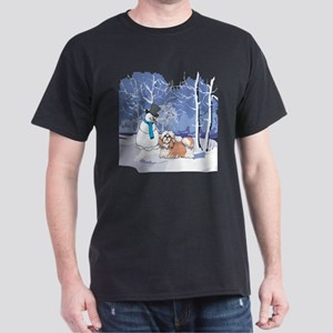 Snowman & Shih Tzu Holiday Dark T-Shirt