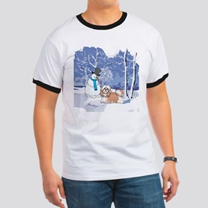 Snowman & Shih Tzu Holiday Ringer T