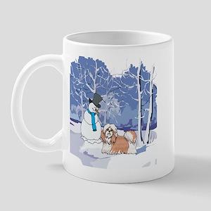 Snowman & Shih Tzu Holiday Mug