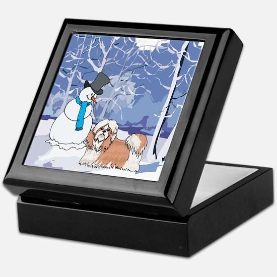 Snowman & Shih Tzu Holiday Keepsake Box