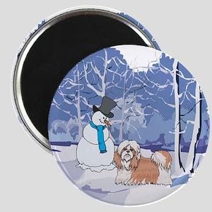 Snowman & Shih Tzu Holiday Magnet