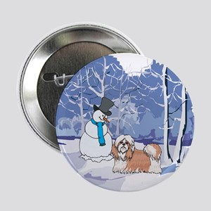 "Snowman & Shih Tzu Holiday 2.25"" Button"