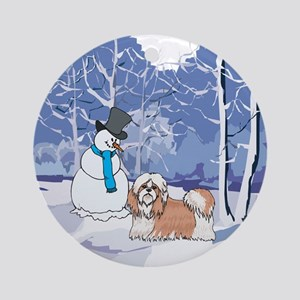Snowman & Shih Tzu Holiday Ornament (Round)