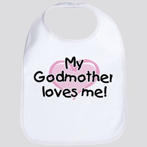 My Godmother loves me pk Cotton Baby Bib