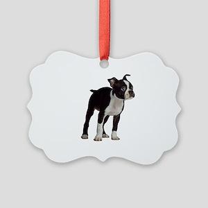 Boston Terrier Puppy Picture Ornament