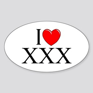 """I Love (Heart) XXX"" Oval Sticker"