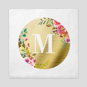 Floral Gold Foil Circle Monogram Queen Duvet