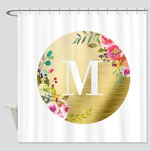 Floral Gold Foil Circle Monogram Shower Curtain