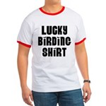Lucky Birding Shirt (Black Text) Ringer T