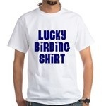 Lucky Birding Shirt (Royal Text) White T-Shirt