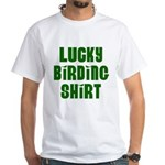 Lucky Birding Shirt (Green Text) White T-Shirt