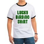 Lucky Birding Shirt (Green Text) Ringer T