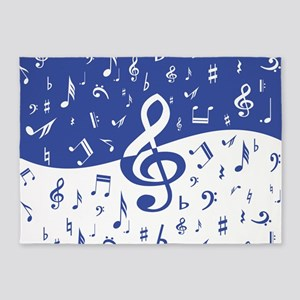 Mariner Blue and White Musical note 5'x7'Area Rug