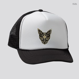 Gold and black mystic cat Kids Trucker hat