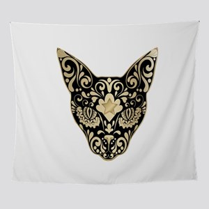 Gold and black mystic cat Wall Tapestry