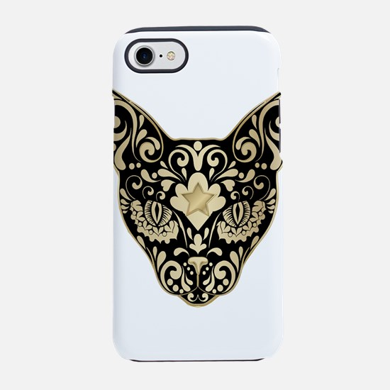 Gold and black mystic cat iPhone 8/7 Tough Case
