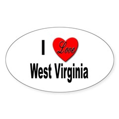 I Love West Virginia Oval Decal