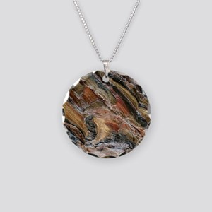 Rock swirls in nature Necklace Circle Charm