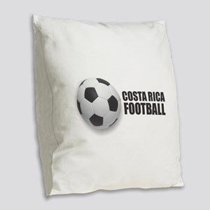 Costa Rica Football Burlap Throw Pillow