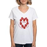 Rose Wreath, Valentine Women's V-Neck T-Shirt