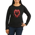 Rose Wreath, Valentine Women's Long Sleeve Dark T-