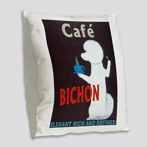Café Bichon Burlap Throw Pillow