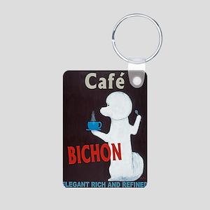 Café Bichon Aluminum Photo Keychain