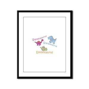 Grandma, Grandpa & Emilyosaur Framed Panel Print