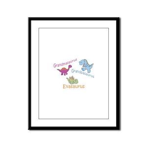 Grandma, Grandpa & Evaosaurus Framed Panel Print