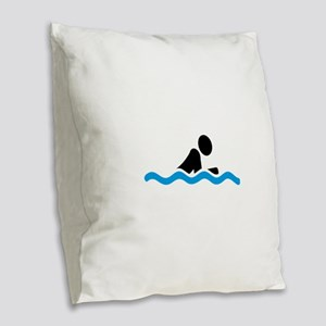swim Burlap Throw Pillow