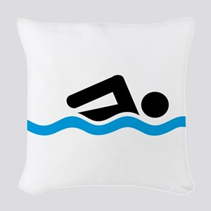 swimming Woven Throw Pillow