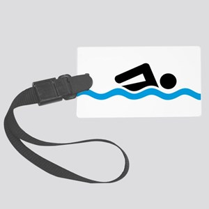 swimming Large Luggage Tag