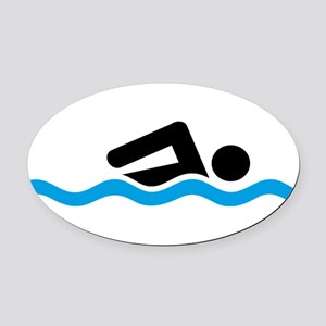 swimming Oval Car Magnet